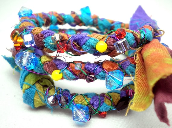 Memory Bracelet - Multi Media, Braided Hand-Dyed Fabric in Multiple Bright Colors, wire wrapped, beaded