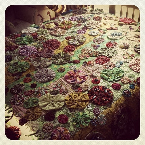 Blooms - Heirloom Lap Quilt, Textile Art, Throw Blanket,  Blooming Poppy Yo-Yo's
