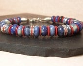 Mens Leather Blue Gemstone and Red Bracelet, Sterling Silver