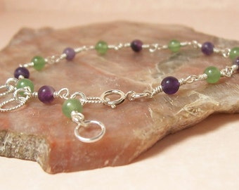 Purple and Green Sterling Silver Wire Wrapped Bracelet