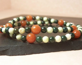 Orange, Dark Green and Light Green Wrap Around Sterling Silver Bracelet - Relaxation