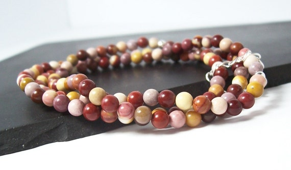 Christmas Berries Elastic Mookaite Jasper Bracelet Set, 3 Separate Strands