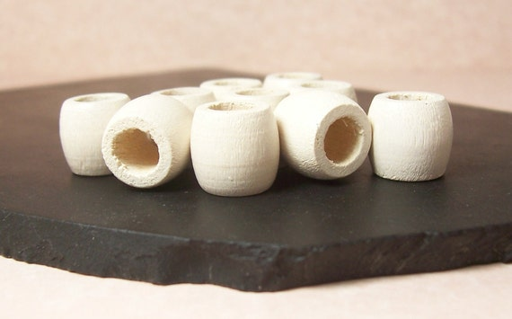 Vintage White wash Wooden Beads - Medium Size