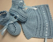 Christening Bonnet Booties Baby Boy Crochet Bonnet Booties Baby Boy Blue Ribbons Newborn Reborn