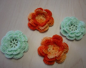 Crochet Flower Appliques Yellow and Mint Green Irish Rose