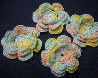 Crochet Appliques Flowers Pastel Colors Irish Rose
