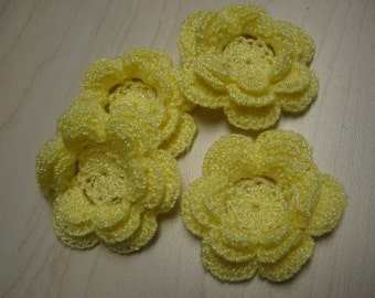 Crochet Appliques Flowers Light Yellow Irish Rose Flower