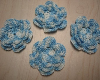 Crochet Appliques Flowers Shaded Blue Irish Rose Flower