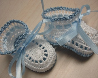 Baby Boy Booties Baby Boy Shoes Crochet Baby Booties Newborn Boy Blue and White