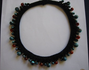 Crochet Necklace Black with Multicolor Turquoise Beads