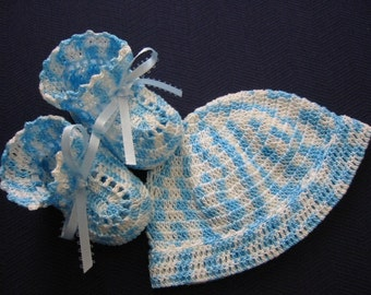 Crochet Hat and Booties Baby Boy BLUES Newborn or Reborn Doll