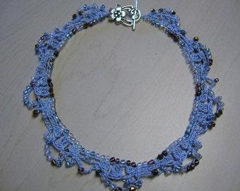 Crochet Necklace Choker Multicolor Glass Beads