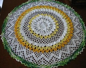 Hand Crochet Doily Marigold Flower