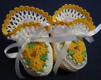 Dark Yellow Flowers 0-3 Months Newborn Reborn Baby Girl Crochet Booties