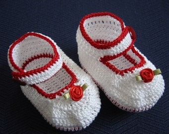 Crochet Booties Baby Girl Red Rose Mary Janes Newborn Reborn