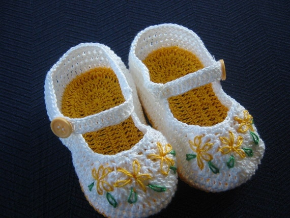 Yellow Flowers Mary Janes 3-6 Months Baby Girl Crochet Booties