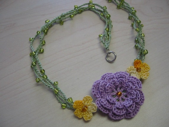Lavender Rose Beaded Crochet Necklace