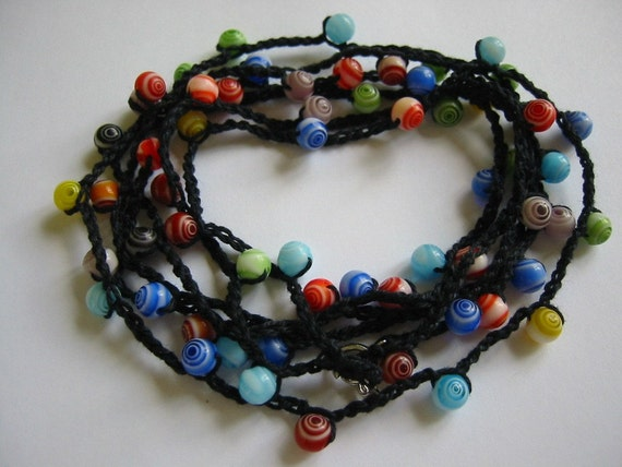 Crochet Beaded Necklace or Bracelet Rainbow Colors