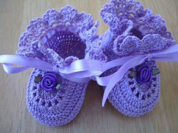 Crochet Baby Booties Purple Roses Newborn Baby Girl or Reborn Doll