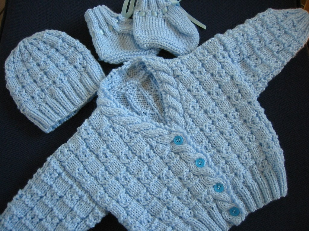 Hand Knitted Newborn Baby Boy Sweater Hat and Booties Blue