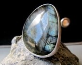 Waxing Moon Ring - Sterling Silver and Labradorite Ring