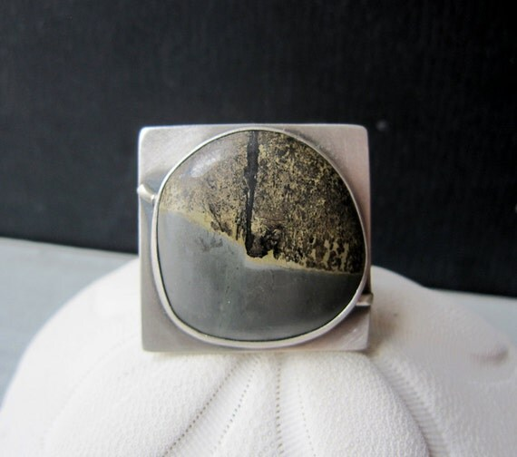 SALE - Geometry Ring - Sterling Silver and Paint Brush Jasper