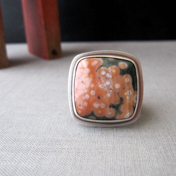 Bubble Ring Ocean Jasper And Sterling Silver