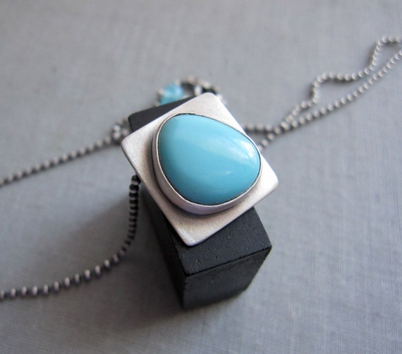 60 DOLLAR SALE - State Line Necklace - Sleeping Beauty Turquoise and Sterling Silver