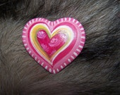 HAPPY pink HEART pin painted polymer clay by Raquel SPUNKNWHIMSY
