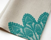 turquoise LACE screenprinted natural linen towel