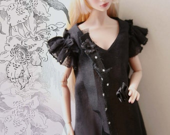 made-to-order Black Orchid dress for misaki, nu face doll....