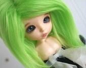 doll wig BJD wig Dollfie wig LAti yellow/pukifee sized fake fur lime green wig monstrodesigns