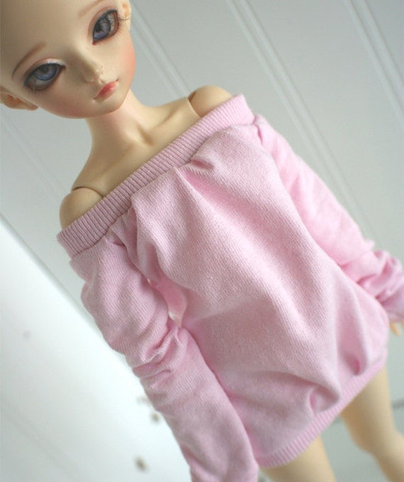 doll clothes BJD clothes Dollfie clothes MSD clothes Lt pink off shoulder long sleeve shirt
