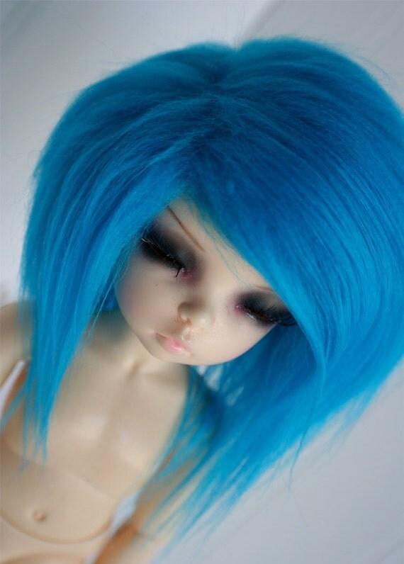 doll wig BJD wig Dollfie wig Littlefee/Yosd sized TEAL fake fur wig monstrodesign
