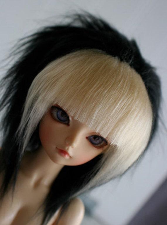 doll wig BJD wig Dollfie wig MSD fake fur black with lt blonde Rock bangs monstrodesign