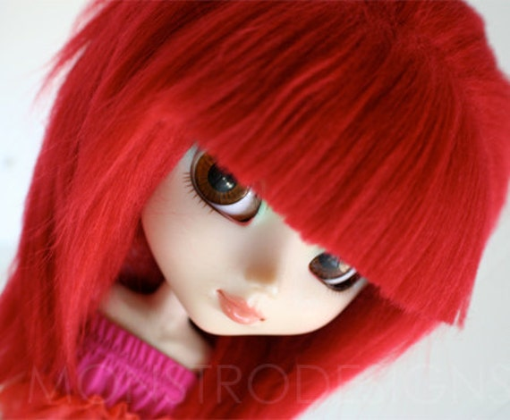 pullip wig pullip red rock bang long in back fake fur wig monstrodesign