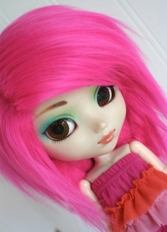 pullip wig pullip hot pink long in back fake fur wig monstrodesign