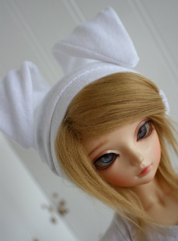 bjd clothes msd clothes white bunny beanie monstrodesign