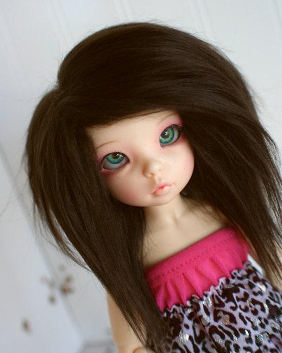 doll wig BJD wig Dollfie wig Yosd/unoa/littlefee Dark Brown fake fur wig monstrodesign