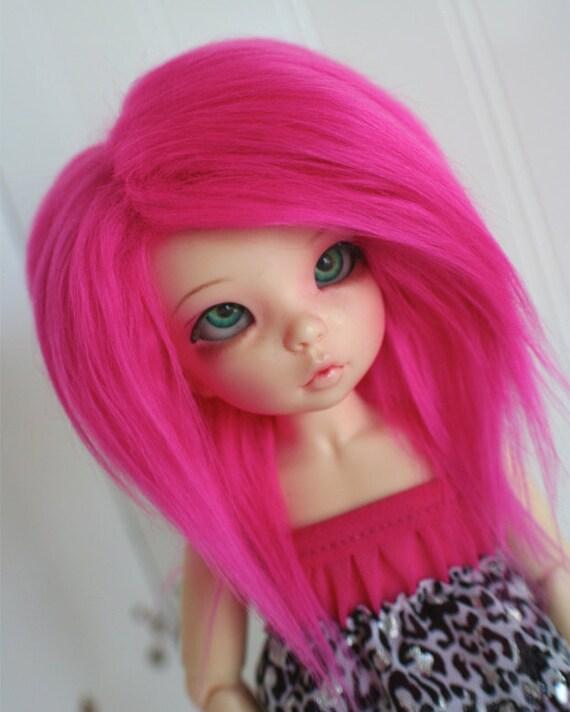 bjd wig yosd hot pink fake fur wig monstrodesign