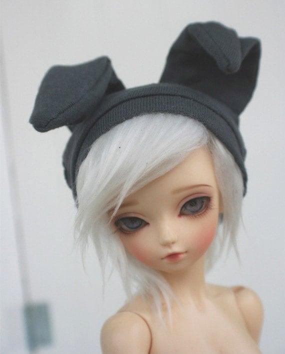 bjd clothes msd clothes dark gray bunny beanie monstrodesign