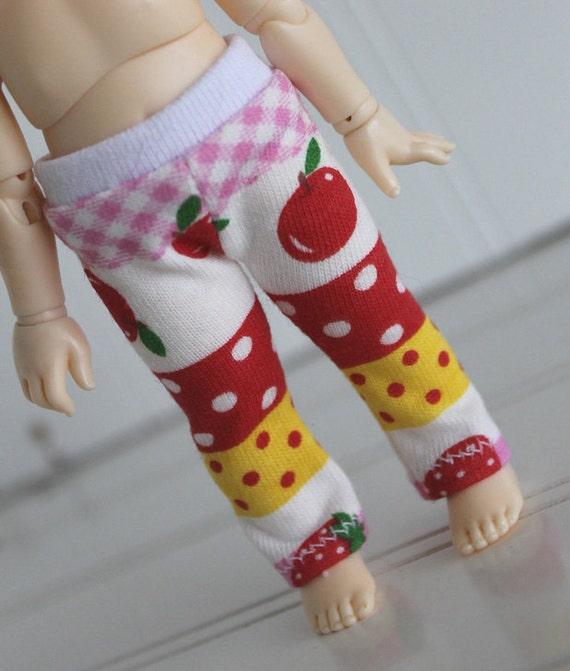 last pair...BJD / Dollfie LATI YELLOW/Pukifee sized Apples and Stripes  leggings
