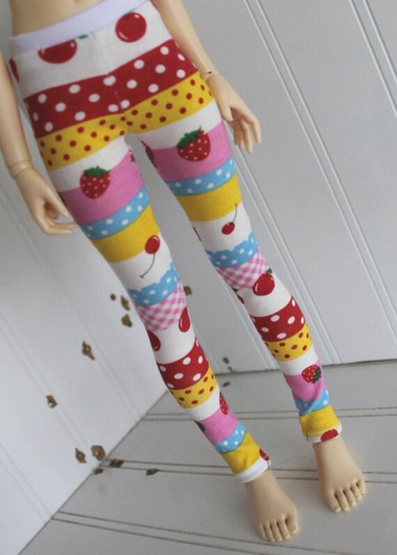 BJD / Dollfie  MSD sized Apples and Stripes leggings