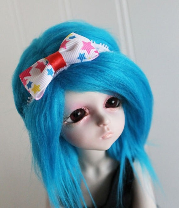 BJD / Dollfie MSD sized white lace with  start print bow headband