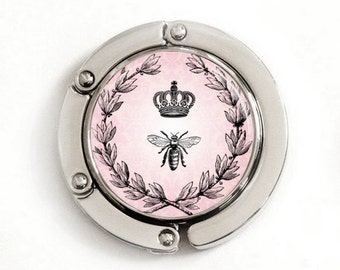 Crown and Bee (Pink) Purse Hook