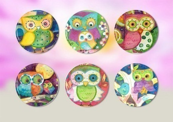Set of 6 Magnets or Pinback Buttons - COLORFUL OWLS - 1.25 inches