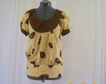 Autumn Bliss Top CLEARANCE SALE Blouse Yellow Fall Leaf Print Sz S