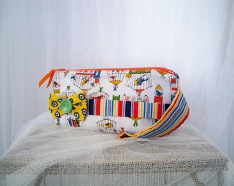 Little Birdcages Wristlet Accessory Bag with Stripes and Yellow Polka Dot Bow