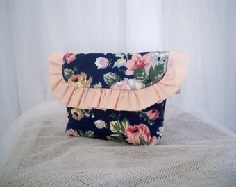 Clearance Sale Navy Rose Floral Pouch Clutch Wallet Treasury Featured