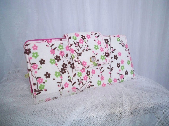 Floral Vine Shabby Chic Wallet Checkbook